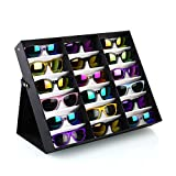 PRASACCO Brillenständer für 18 Brillen Brillen Display Brillenhalter Brillenaufbewahrung aus PU Leder