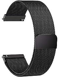 Fullmosa 6 Colores para Correa de Reloj, Milanese Piel Correa Huawei Samsung Correa/Banda/Band/Pulsera/Strap de Recambio/Reemplazo 14mm 16mm 18mm 20mm 22mm 24mm,20mm,Negro