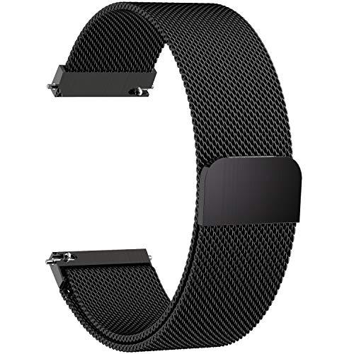 Fullmosa Gear S3 Frontier/Classic Watch Armband, Milanese Loop 22mm Uhr Ersatz Armbänder für Samsung Gear S3 Frontier/S3 Classic/Moto 360 2nd Gen 46mm, Schwarz