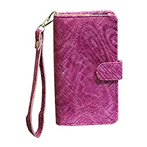 J Cover A9 Bali Leather Carry Case Cover Pouch Wallet Case For Karbonn A2 Plus Exotic Pink