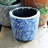Bluebell Yard Chiltern Cache-Pot en Terre Cuite Vernie craquelée Bleu