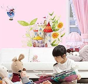 ufengke cartoon prinzessin schloss und sch nen elf m dchen wandsticker kinderzimmer babyzimmer. Black Bedroom Furniture Sets. Home Design Ideas