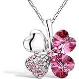 Merdia - Collar con colgante de trébol de cuatro hojas en forma de corazón con cristales Swarovski, cadena de 40,64 cm con extensor de 12,7 cm