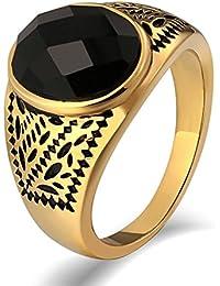 Aooaz Gioielli anello fascia anello acciaio uomo Stile graduato Gemme del modello anello gotico anelli fidanzamento anello biker