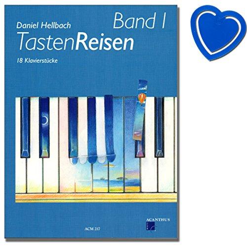Tastenreisen Band 1-18 Klavierstücke von Daniel Hellbach (für Schülerinnen und Schüler bereits im ersten Unterrichtsjahr) - mit bunter herzförmiger Notenklammer -