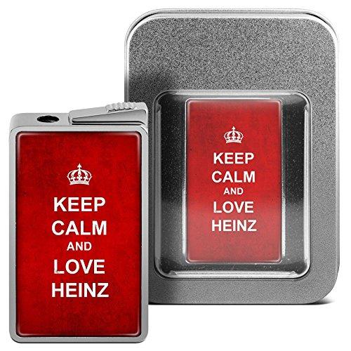Feuerzeug mit Namen Heinz - personalisiertes Gasfeuerzeug mit Design Keep Calm - inkl. Metall-Geschenk-Box