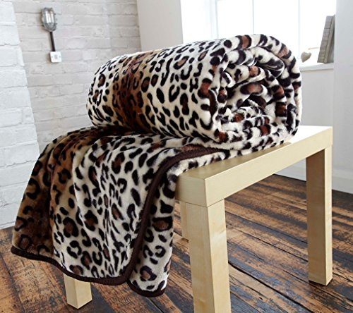 ge Leopard Print Mink Faux Fur Throw 200cm x240cm Super Soft by Luxury Home Linens ()