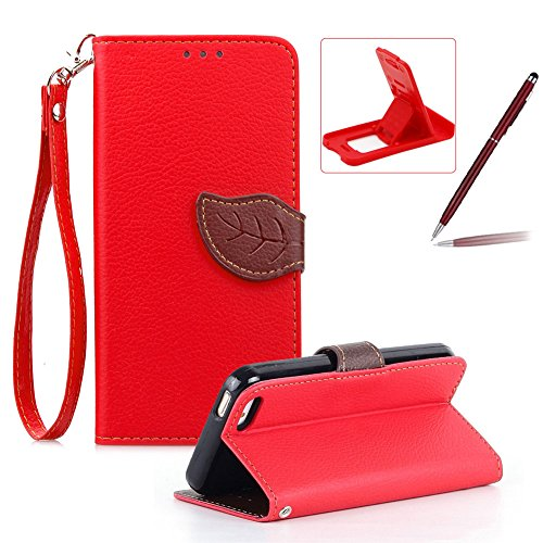 Coque pour iPhone 5S en PU Cuir, Herzzer iPhone 5C Bookstyle Etui Feuille Magnétique Design Housse de Protection Flip Wallet Case Cover Swag Fonction Stand et Card Holder avec Lanyard Strap pour Apple iPhone 5 5S SE 5C Rouge