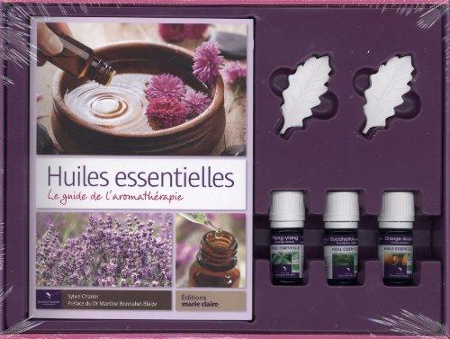 Coffret Huiles essentielles : Le guide de l'aromathérapie - Propriétés, bienfaits et recettes naturelles avec 3 flacons d'huiles essentielles Dr Valnet et 2 galets diffuseurs en plâtre
