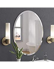 Creative Arts n Frames Exquisite Oval Frame Less Beveled Mirror for Dressing, Bedroom,Bathroom, Living Room (18X24)