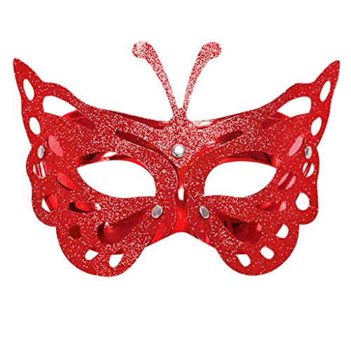 OverDose Damen Maske maskenball Zeigen hochwertiger Diamant Ultra dünnen Metall Maske venezianischen Stil Diamante Metall filigranen (Rot)