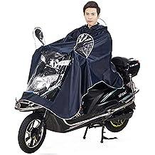 Capa de lluvia abrigo impermeable con gran capucha Moto Bicicleta Poncho/chaqueta de lluvia Raincoat Cape Bona calidad Rainwear Outdoor Waterproof Unisex para hombre Mujer, color Bleu Fondé, tamaño XXXXL