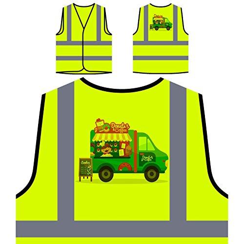 Coffee Truck Van Personalisierte High Visibility Gelbe Sicherheitsjacke Weste v558v (Donut-truck)
