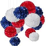 15er Set Pompoms Deko Bunt Seidenpapier Pompons für Hochzeit, Geburtstag, Party Blau Rot Weiß (3pcs*30.5cm/6pcs*25cm/6pcs*15.5cm)