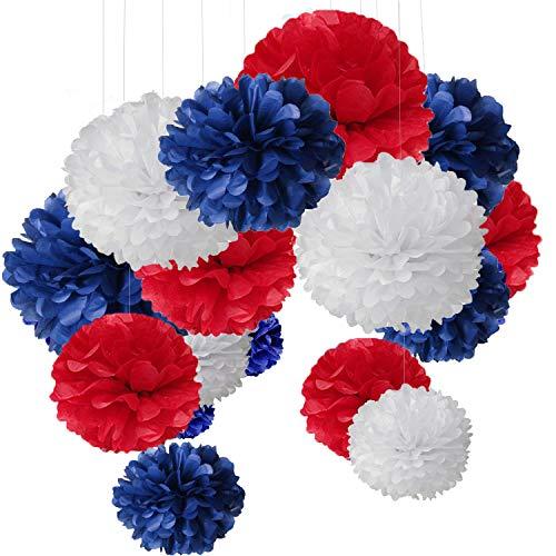 o Bunt Seidenpapier Pompons für Hochzeit, Geburtstag, Party Blau Rot Weiß (3pcs*30.5cm/6pcs*25cm/6pcs*15.5cm) ()