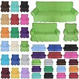 Nurtextil24 Sofahussen 100% Baumwolle in 20 Farben und 3 Größen Sesselbezug 1er Grün
