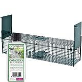 Lebendfalle Secure-L 103 cm + 100 ml Canoex Universal-Lockstoff - zuverlässige & sichere Tierfalle mit 2 Eingängen - sofort einsatzbereit & wetterfest - ideal für Marder, Katzen, Kaninchen, Iltis