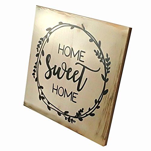 ELENXS Sign Plaque Neue Dekorative Brett Tischdekorationen aus Holz Home Sweet Home Stehen Plank Panel Startseite Anzeigen Decor