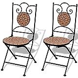 vidaXL Set 2 pz Sedia Bistro in Ferro da Giardino Esterno con Mosaico Terracotta