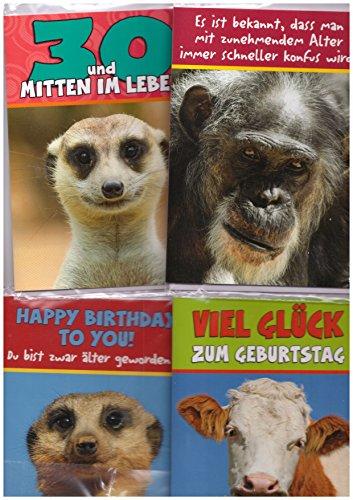 20 Tierische Geburtstagsgrußkarten mit Umschlag verschiedene Motive