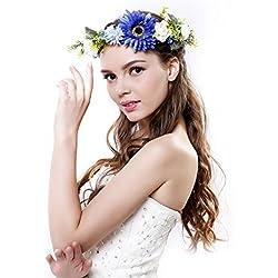Diadema corona de margaritas de Ever Fairy® con cinta ajustable, para bodas y festivales Azul azul Taille unique