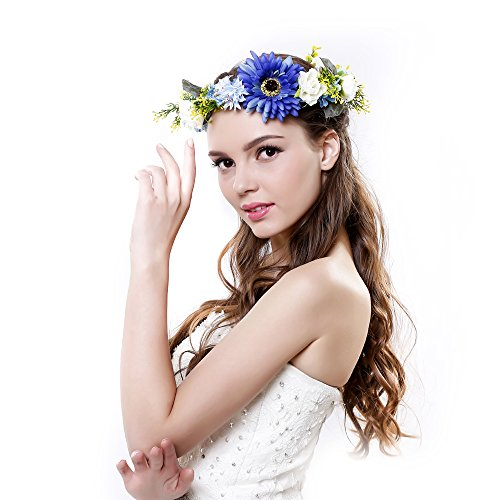 Ever Fairy® Daisy Flower Crown Headband With Adjustable Ribbon For Wedding Festivals