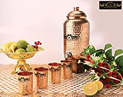 Crockery Wala and Company Premium Quality 8 Ltr Copper Water Dispenser with Designer Copper Knob And Four Copper Hammered Glasses by Crockery wala and Company, 99.5% Pure Copper matka for kitchen enhances health