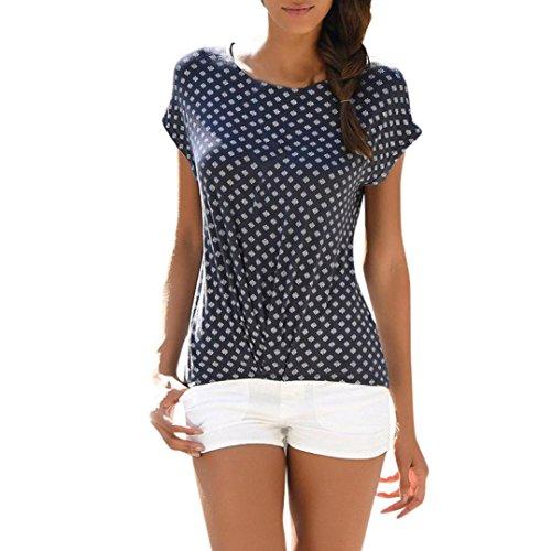 SEWORLD T-Shirt Damen Sommer Mode Lose Kurzarm Gedruckt Casual T-Shirt Bluse Tops (2XL, Marine)