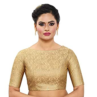MADHU FASHION's WOMEN'S BROCADE READYMADE SAREE BLOUSE with BOAT NECK and ELBOW LENGTH SLEEVES