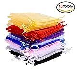 Swatowot 50 Stück 10 Farben bunten Organza Geschenktüten Hochzeit Party Favor Taschen Schmuck Beutel Wrap