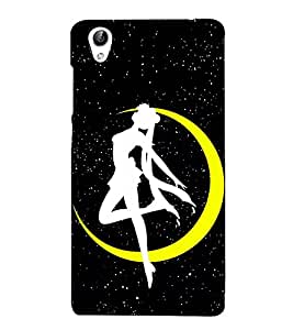 Vizagbeats Crescent Moon Dancing Girl Back Case Cover for Oppo F1 Plus
