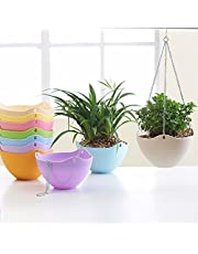 Airex Plastic Chain Hanging Flower Plant Pot (Multicolour) - Set of 5