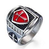 Hombres de acero inoxidable rojo y plata cristiana Santa Cruz anillo de oración tamaño 7-14