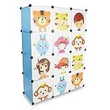 Grinscard Kinderzimmer Steckschrank - Set aus 12 Modulen, Blau - DIY Steckregal System Regalschrank