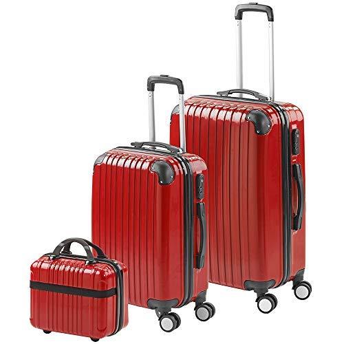 Gridinlux - Juego Maletas y Neceser. Set Viaje. Resistentes, Ligeras - Rojo