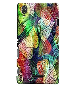 Omnam Colorful Leaf Pattern Printed Designer Back Cover Case For Sony Xperia T3