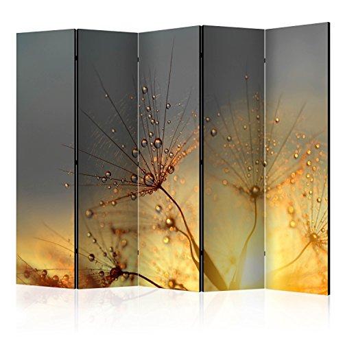 murando Raumteiler Pusteblume Natur Foto Paravent 225x172 cm beidseitig auf Vlies-Leinwand Bedruckt Trennwand Spanische Wand Sichtschutz Raumtrenner grau gelb b-B-0134-z-c