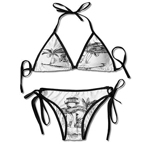 KAKALINQ Bikini Bottoms with Skirt Island Surrounded with Palm Trees Printing Bikini