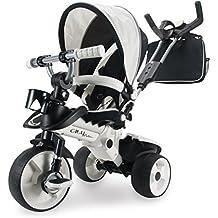 Injusa - Triciclo City Max para bebés a partir de los 8 meses, con control parental desde el mango y ruedas con banda de goma, blanco perlado y negro  (327)