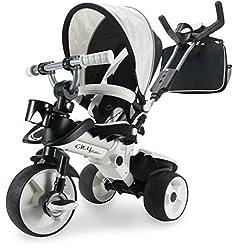 INJUSA Dreirad in Silbern für Kinder ab 6 Monaten mit Sonnendach und Tasche Trike City Max