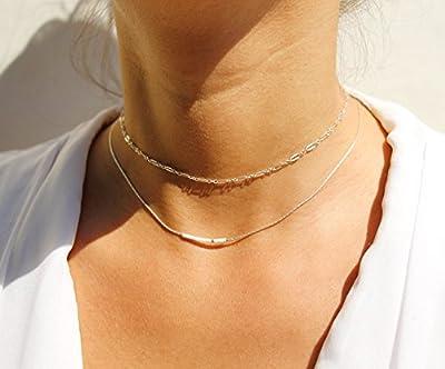 Lot de 2 colliers fin choker, chaine serpent argent massif 925, et perles miyuki rose pâle et blanc + chaîne