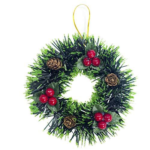 kingko® Adventskranz Türkranz Weihnachtskranz Kranz Weihnachtsbaum Dekor kleine Ornament Home Decor Anhänger Weihnachtsbaum Decor Party Weihnachtsdeko für Tür und Fenster (A)