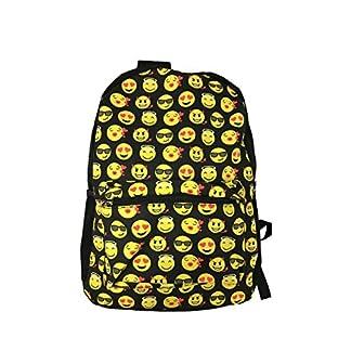 Sonrisa Estilos Emoti – Mochila escolar diseño emoticonos – Bolsa de hombro – Mochila de viaje. (Negro)