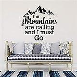 Stickers Muraux Les Montagnes Appellent Des Citations Chaîne De Montagnes Et Cèdre Home Decor Salon...