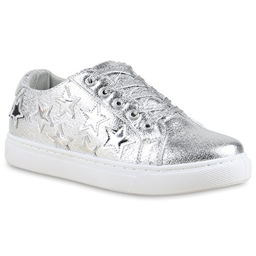 Damen Sneakers Basic Sportschuhe Schnürer Lederoptik Schuhe Silber Sterne