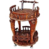 Crafts A to Z Wine Service Trolley, Service Trolley Handcrafted Round Wooden Service Trolley Unique Hand Work for Home & Kitchen