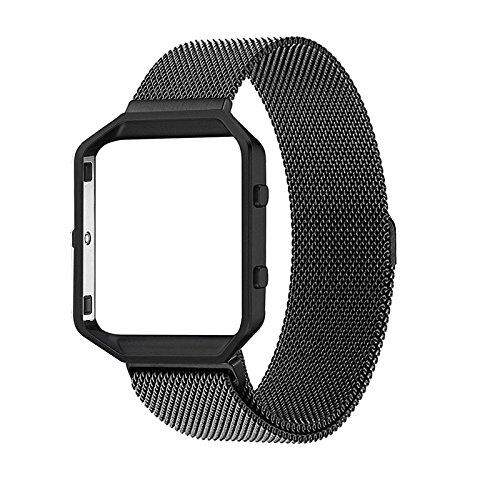 kofun-Edelstahl Fitness Band Handgelenk Uhrenarmband für Fitbit Blaze schwarz