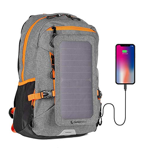 SunnyBAG Explorer+ Backpack with Solar-Panel | solarbag solarcharger | World's Strongest solarpanel for Smartphone Charging on The go | Gray/Orange