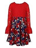 ephex Kinder Mädchen Spitzenkleid langarm Abendkleid Blumenkleid hochzeit Kleid rot für 5-6 Jahre