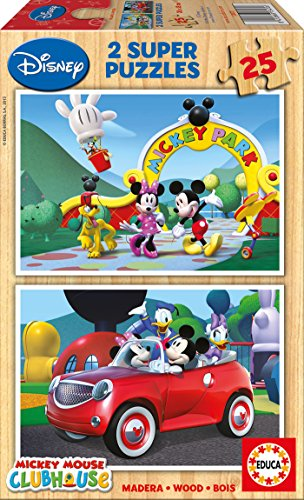Educa 13470 Disney Micky Maus Clubhaus 2 x 25 Holzpuzzle Mickey-mouse-holz-puzzle